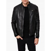 SELECTED HOMME Classic Leather Jacket, Black