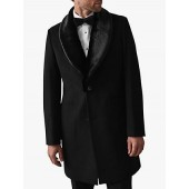 Reiss Hudson Faux Fur Shawl Collar Overcoat, Black