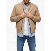 SELECTED HOMME Suede Bomber Jacket, Cornstalk