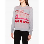 PS Paul Smith Intarsia Pom Pom Jumper, Grey Marl