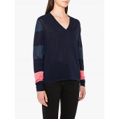 PS Paul Smith Sheer Wide Stripe Jumper, Navy/Multi