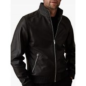 Reiss Harris Leather Funnel Neck Jacket, Black