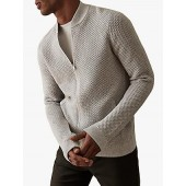 Reiss Marcus Waffle Knit Cottom Bomber Jacket, Grey