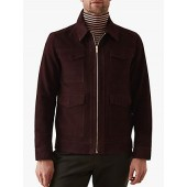 Reiss Ryton Suede Bomber Jacket, Bordeaux
