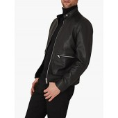 Reiss Martel Leather Bomber Jacket, Black