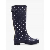 Joules French Spot Waterproof Rubber Wellington Boots, Navy