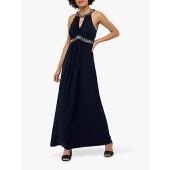Monsoon Isabeli Embellished Jersey Maxi Dress, Navy