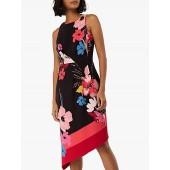 Monsoon Eloise Print Asymmetric Hem Dress, Black