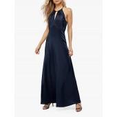 Monsoon Rhea Satin Lace Maxi Dress, Navy