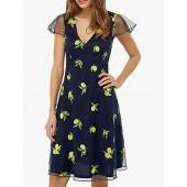 Monsoon Lemon Embellished Midi Dress, Navy