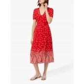 Monsoon Odette Paisley Print Midi Dress, Red