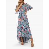 Monsoon Alba Print Maxi Dress, Grey