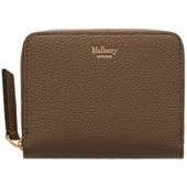 Mulberry Small Zip Around Leather Purse, Clay