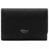 Mulberry Continental Small Classic Grain Leather Card Holder, Black