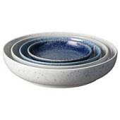 Denby Studio Blue Nesting Bowls, Chalk/Blue, Dia.22cm, Set of 4