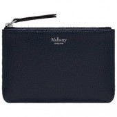 Mulberry Small Classic Grain Leather Zip Coin Pouch, Bright Navy