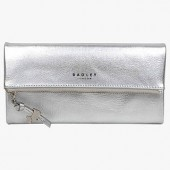 Radley Coleman Street Large Leather Foldover Matinee Purse, Silver