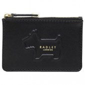 Radley Shadow Leather Small Zip Top Coin Purse, Black/Multi