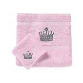 Rachel Riley My Little Princess Bath and Face Towel Set, Light Pink