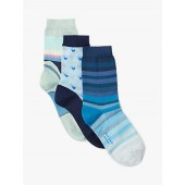 Paul Smith Valentine Heart and Stripe Ankle Socks, Pack of 3, Blue Mix