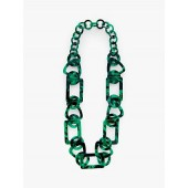 John Lewis & Partners Chunky Resin Chain Necklace, Dark Green
