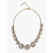 John Lewis & Partners Vintage Sparkle Crystal Flower Necklace, Gold