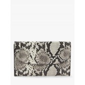 Boden Snake Print Embossed Leather Purse, Grey