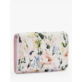 Ted Baker Esma Floral Print Leather Foldover Purse, Pink/Multi