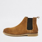 Tan suede casual chelsea boots