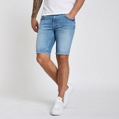 Light blue wash skinny fit denim shorts