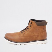 Brown faux leather lace-up boots