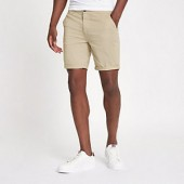 Light brown turn-up hem skinny fit shorts
