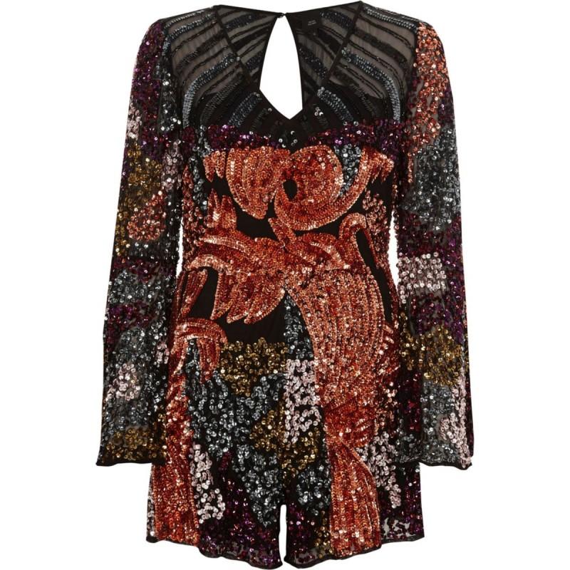 Black sequin embellished bell sleeve playsuit