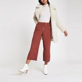 Dark red Alexa crop cord wide leg trousers