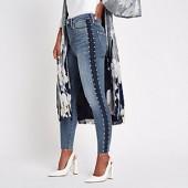 Petite blue Harper stud side skinny jeans