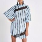 Light blue stripe swing dress