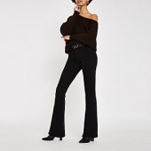 Black high rise flare jeans