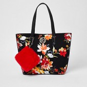 Girls black RI floral print shopper bag