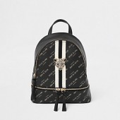Girls black RI tiger charm backpack