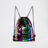 Girls rainbow sequin drawstring backpack