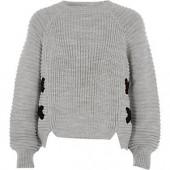 Girls grey knit cross front jumper