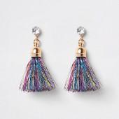 Blue gold tone tinsel tassel earrings