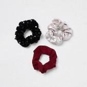 Girls black sequin hair scrunchie multipack