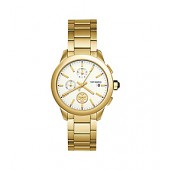 COLLINS WATCH, GOLD-TONE STAINLESS STEEL/IVORY CHRONOGRAPH, 38MM