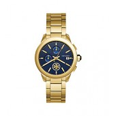 COLLINS WATCH, GOLD-TONE STAINLESS STEEL/NAVY CHRONOGRAPH, 38MM