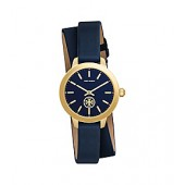 COLLINS WATCH DOUBLE-WRAP, NAVY/GOLD LEATHER/STAINLESS STEEL, 32MM