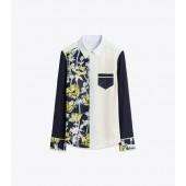 Printed Contrast Silk Shirt