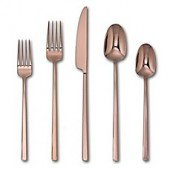 Artisanal Kitchen Supply Edge Mirror 20-Piece Flatware Set in Copper