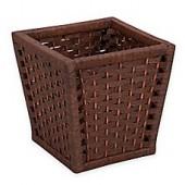 Household Essentials Paper Rope Wicker Wastebasket in Brown