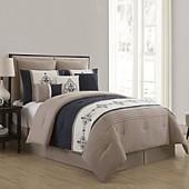 VCNY Home Mansfield 9-Piece Queen Comforter Set in Navy